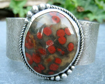 Poppy Jasper Cuff, Bold Gemstone Cuff, Wide Silver Cuff, Morgan Hill Poppy Jasper, red flowers cuff, statement cuff bracelet, textured cuff