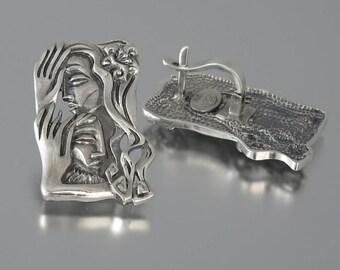 LOVERS silver Art Nouveau statement earrings