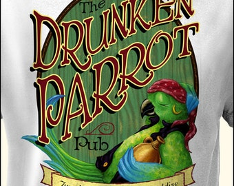 Margaritaville Jimmy Buffett: The Drunken Pirate Parrot Pub T Shirt by Lost Reef. Sizes S M L XL 2XL 3XL 4XL 5XL