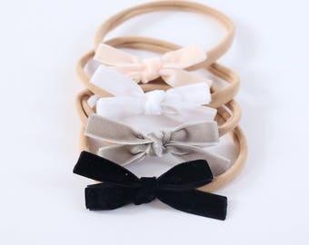 Mini Ballet Baby Velvet School Girl Hair Bow Hair Clip Set // School Girl Bows // Newborn Bows // Velvet Hair Bow // Baby Girl Basics
