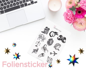 Foiled drawn Zodiac Stickerset-watercolour sticker-Pretty planning-scrapbooking-bullet journaling