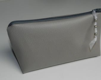 Toiletry bag / clutch in faux Tan Leather