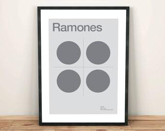 Ramones Remixed Gig Poster, Art Print, Music Poster