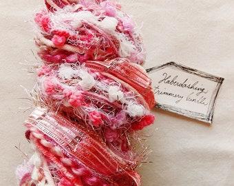 Sugar Piglet pink pom garland tinsel satin ribbon fringe twine Novelty Fiber Yarn Sampler Bundle