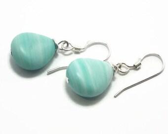 Mint Green Earrings, Light Green Earrings, Dangle Earrings, Beaded Earrings, Teal Earrings, Drop Earrings, Turquoise Earrings (B84)