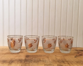 Cyber Monday Deal Retro highball glasses with gold leaf design and gold trim
