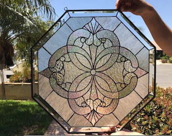 Beautiful Octagon Beveled   Stained Glass Window Panel  (We do custom work, email for a quick quote)