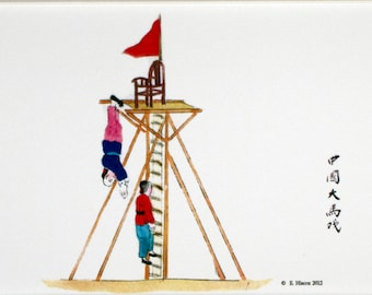 Chinese Circus Performers Climbing a ladder of knives