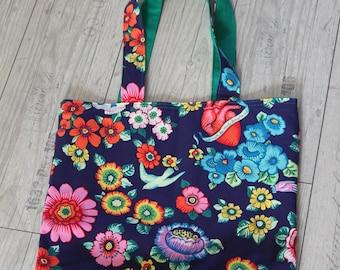 Shopper bag reversible shoulderbag shoppingbag beachbag sportsbag yogabag schoolbag tote mediterranean sacred heart flowers