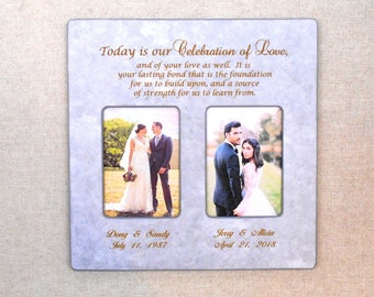 WEDDING GIFT- PARENTS Gift-Bride Gift to Parents -Groom Wedding Gift to Mom and Dad- Wedding Personalized Picture Frame 12x12overall