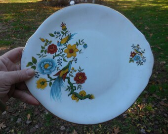 Vintage 1960s to 1970s Arklow White Bone China Made in Ireland Plate Bright Flowers Bird Red/Green/Blue/Yellow/Teal/Gold Trim Irish