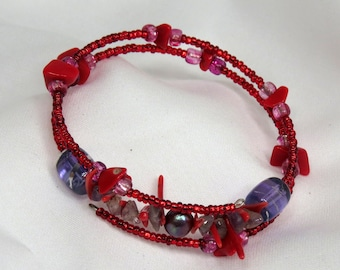 Red Coral and Amethyst wrap-around bracelet