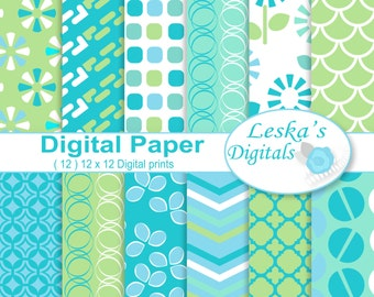 Digital scrapbooking papers, digital download, 12x12 printable papers, blue and green digital paper pack, geometric backgrounds, blue green