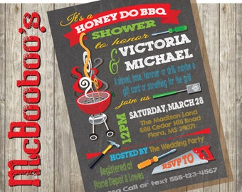 Honey Do Barbecue BBQ Couples Shower Party Invitations on a chalkboard background