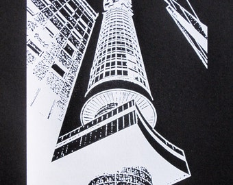 284 : London - BT Tower (Negative) - limited edition screenprint