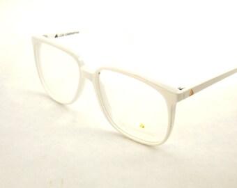 Womens White Eyeglasses, Large Square White Glasses, Vintage Big Eyeglasses, Designer Liz Claiborne Glasses Frame, Huge 1980s glasses