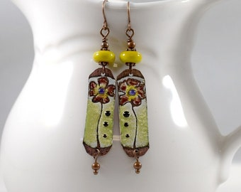 Handgemachte gelb und braun Blume emaillierten Ohrringe, braun und gelb, Kupfer Ohrringe, Ohrringe, Ohrringe, lange, AE016