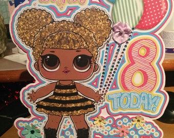 Queen bee birthday card, lol surprise birthday card, lol surprise dolls, lol surprise party, queen bee, lol dolls, lol surprise