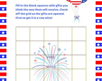 American Baby Shower Printable Games Bundle. 4th July Baby Shower?