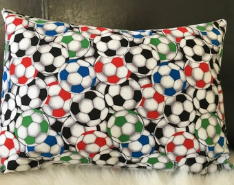 Soccer Pillow w/ Envelope Case/Bend it like Beckham/Travel Pillow/Toddler Pillow/Throw Pillow/Childhood Cancer Donation with each purchase!