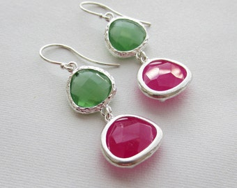 Peridot Green with Fuchsia Hot Pink Drop Earrings Bridesmaid Gift Wedding Earrings, Bridal Jewelry ,Green Dangle Earrings, Gift