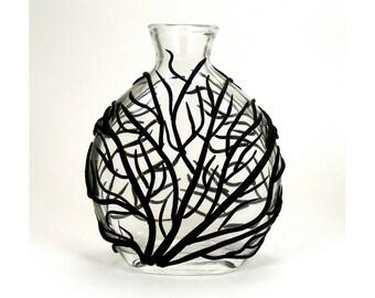 Black Sea Fan Glass Vase - Surge  /  Clay, Home Decor, Ocean, Coral, Waves, Surge, Bud Vase