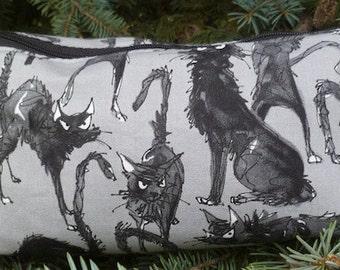 Black Cat flat bottom bag, flat bottom pouch, knitting notions pouch, Sebastian Ghastlie,  The Zini