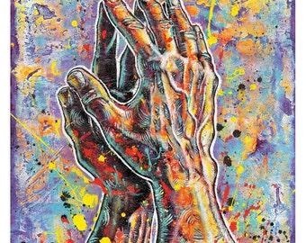 Praying Hands Oral Roberts University ORU Art Print Poster 12 x 12