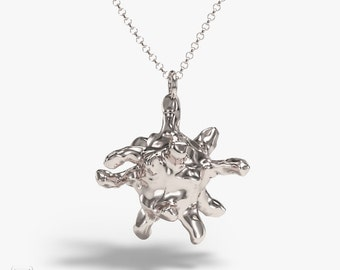science jewelry: silver macrophage necklace - biology gift - 3D printed hematology pendant - blood cell