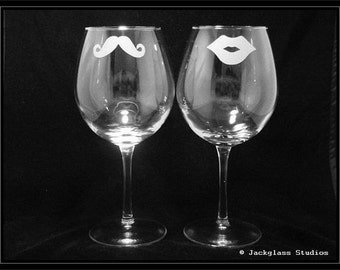 Etched His and Hers Wine Glasses for the toasting Couple, Bride and Groom, Anniversary, Special Event by Jackglass on Etsy