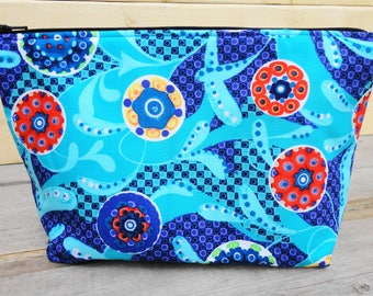 Zipper Pouch Cosmetic Bag - Blue Paisley