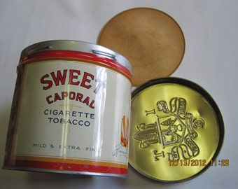 Vintage Sweet Caporal Cigarette Tobacco Tin in very nice condition.