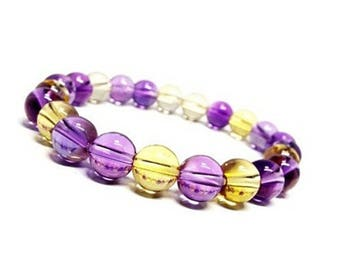 Natural Ametrine Bracelet, Delicate Ametrine Jewelry, Ametrine Crystal, Purple Crystal Bracelet, Gemstone Stretch Bracelet, Bracelet Women