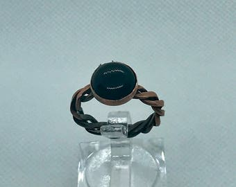 Black Onyx and Copper Braided Ring size 7.5