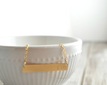 AND / & / Ampersand Gold Bar Necklace
