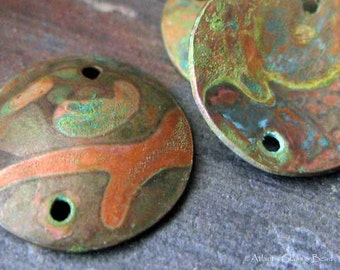 AGB artisan verdigris patina copper jewelry findings domed 16mm discs Kallias 2 pieces