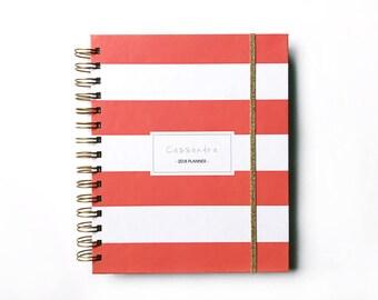 2018 personalized planner - custom 2018 planner - 2018 agenda - student calendar - wedding planner -coral - weekly planner - daily planner
