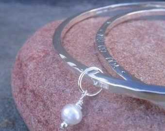 Personalized Stamped Bangle . sterling silver with a stone/pearl charm . personalize with poem, quote, scripture or names . mothers bangle