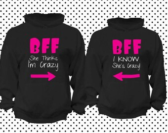 BFF Best friend forever  matching hoodies Matching