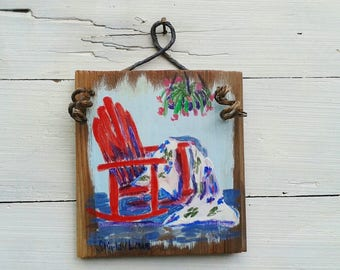 Rocking chair painting, Red rocking chair art, Rocking chair porch, rustic plaque, original rocker art, kitchen art, 5.5x6 inches, Americana