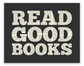 Book Lover Gift for her, literary gift, reading nook decor, Read Good Books Art Print