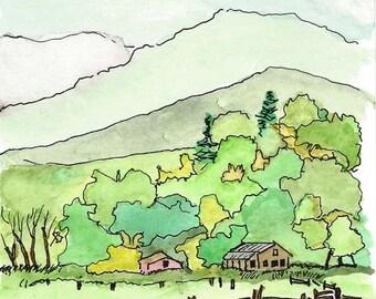 Original Pen and Ink Drawing with Watercolor Wash - Hills and Valleys / Cabin in Woods / Zen Art