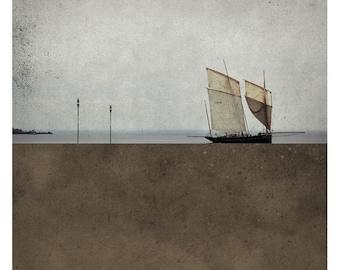 Pole Brun (Landscape Photography - Fine Art Print - Sea - SailBoat-  Minimal Wall Art - Brown)