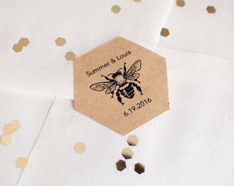 Custom hexagon bee brown kraft stickers