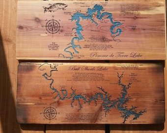 CUSTOM LAKE MAP laser engraved on wood