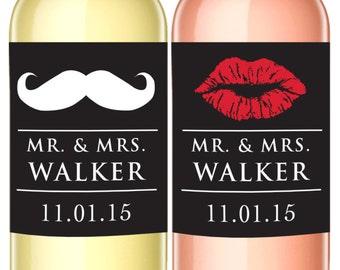 Mr. and Mrs. Custom Wine Labels - Set of 2 - Wine Lovers Wedding Favor - WEATHERPROOF - Lips and Mustache Label - Wine Bottle Labels