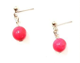 Red Magnesite Drop Earrings, Gemstone drop earrings, Red earrings, Magnesite jewelry, Red jewelry, silver drop earrings, Red drop earrings