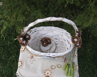Rustic Flower Girl Basket and Ring Bearer Pillow Set For Your Wedding Day