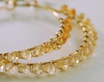 Citrine Hoop Earrings, Gemstone, Genuine Stone, Shaded Ombre, November Birthstone, Wire Wrapped, Vermeil, Gold Jewelry