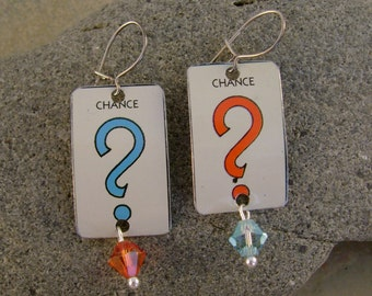 Take a Chance - Vintage Monopoly Chance Question Mark Tins Sterling Silver Wires Recycled Repurposed Earrings - Ten Year Anniversary Gift